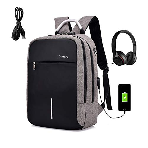 """Gimars Antithief Backpack for 15.6""""Laptop with USB Port Earphone..."""