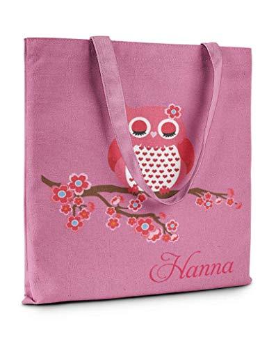 Mein Zwergenland Stofftasche mit langem Henkel mit Namen, 2 L, Muttertag-Eule, rosa