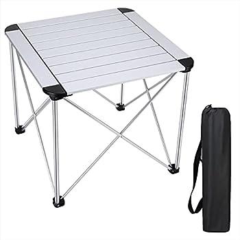 Synlyn Table de Camping Pliante Alu Table Pliable 52 x 52 x 46 cm Table de Jardin en Aluminium jusqu'à 100 kg Petite Table de Voyage Portable pour l'extérieur, Camping, Barbecue, Plage, pêche