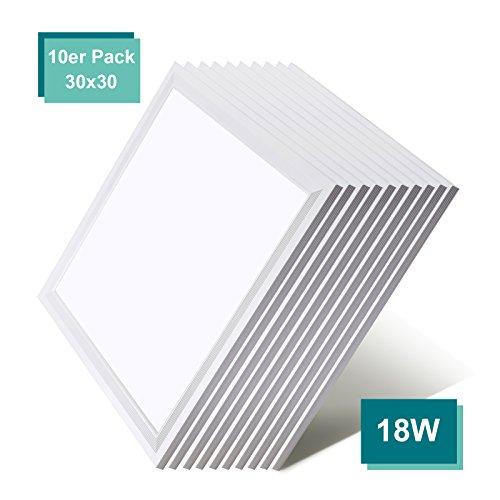 [10er Pack zum Sparpreis] OUBO LED Panel Deckenleuchte 30x30cm Wandleuchte Neutralweiß 4000K, 18W, 1900 lumen, LED Lampe Ultraslim Einbauleuchte mit weißrahmen