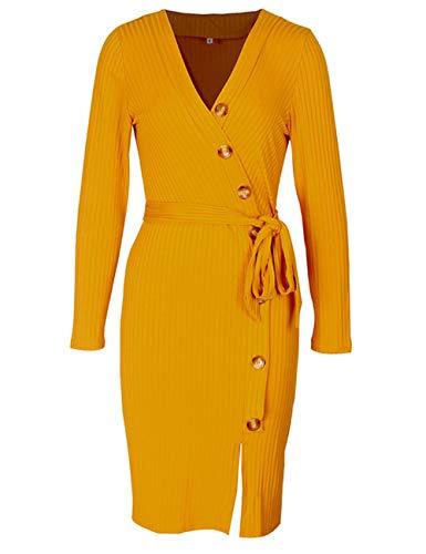 Lrady Women's V Neck Casual Work Slit Slim Bodycon Party Pencil Dress with Belt, Yellow, L