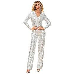 Silver Deep V Sequin Evening Playsuit