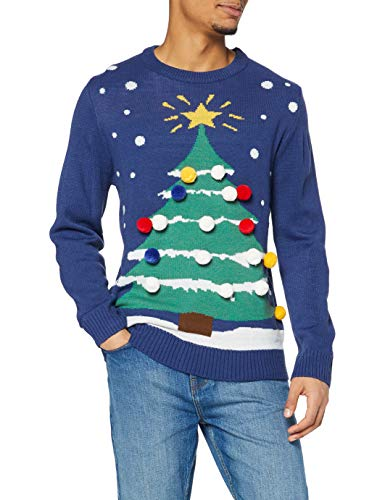 [X-Large] The Christmas Workshop 3D Christmas Tree Jumper, Blue, X-Large