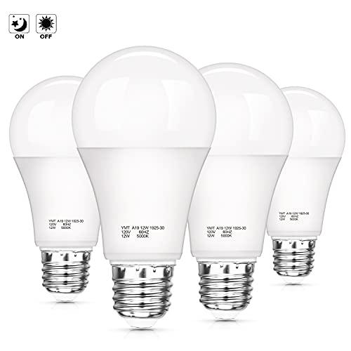 Dusk to Dawn Sensor Light Bulbs, A19 12W (100W Equivalent) LED Auto On Off Light Bulbs, 1200 Lumens, E26 Base, Daylight White 5000K Smart Sensor Lights Outdoor Indoor for Porch Garage Yard, 4-Pack