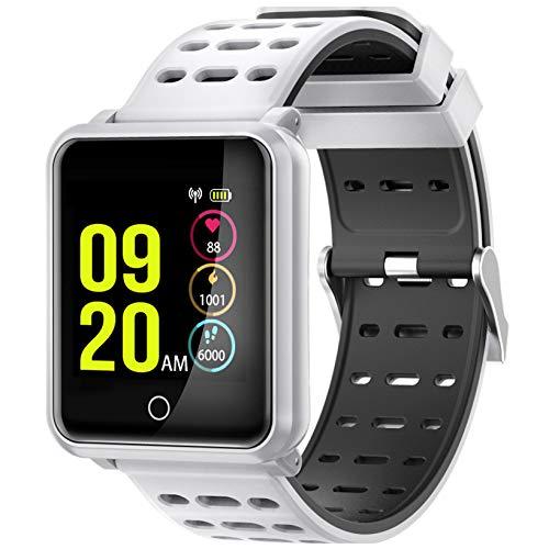 Fitness Smartwatch Wasserdicht, Pulsmesser, Fitness Tracker, Schrittzähler, Schlaf-Monitor, Setz-Alarm, Stoppuhr, SMS-Anruf Benachrichtigung, Damen & Herren Armbanduhr für iOS/Android (Weiß)