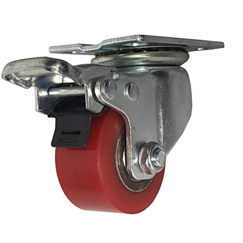 50mm heavy duty 1000kg Silencio PU Ruedas giratorias de placa con freno Soporte de acero Rodamiento de hierro Para muebles Transporte de la f/ábrica Mesa de Trabajo 4 Ruedas industriales 40mm