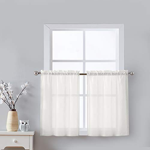 24' Tier Curtains for Windows Ivory Sheer Kitchen Curtains Short Café Curtain Set Small Half Window Curtain Panels for Bathroom Laundry Room Basement 1 Pair