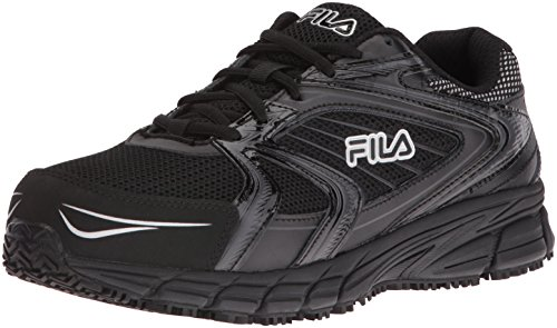 Fila Men's Memory Reckoning 7 Work Slip Resistant Steel Toe Running Shoe, Black/Black/Metallic Silver, 13 M US