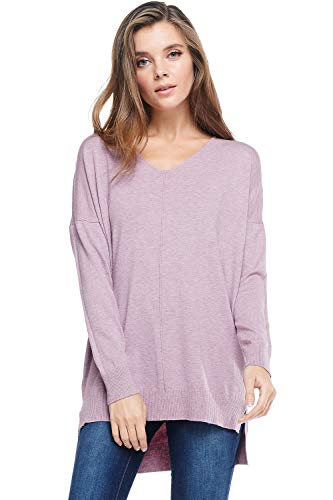 A+D Womens Oversized Extra Soft V-Neck Pullover Sweater Long Sleeved Sweater Top with Hi-Low (Heather Lilac, Small/Medium)