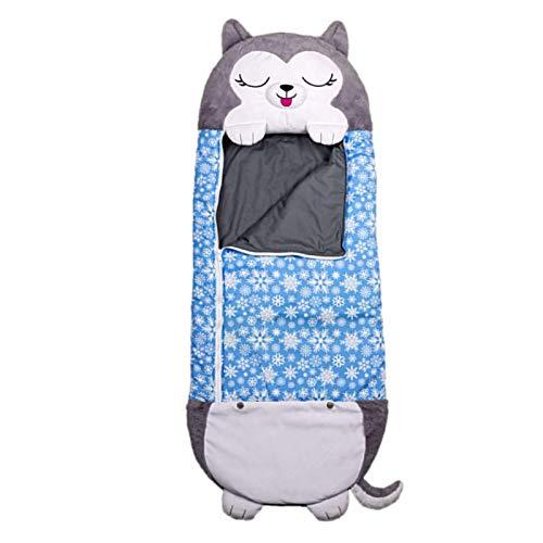 Shunfaji Saco de dormir para niños y almohada, almohada 2 en 1, suave de una pieza, diseño de manta divertida para niños, saco de dormir de una sola pieza, pijama (husky)