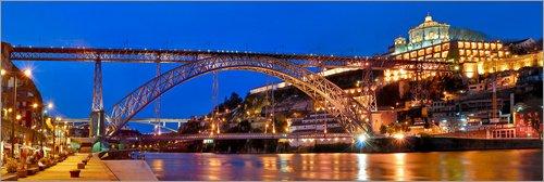 Lienzo 60 x 20 cm: Porto Portugal, Bridge Dom Luis de FineArt Panorama - Cuadro Terminado, Cuadro sobre Bastidor, lámina terminada sobre Lienzo auténtico, impresión en Lienzo