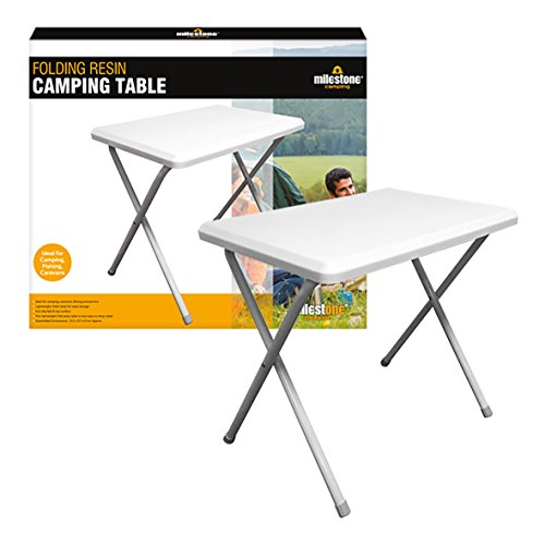 Milestone Unisex's Compact Camping 28000 Portable Folding Table ~ White, Resin, One Size