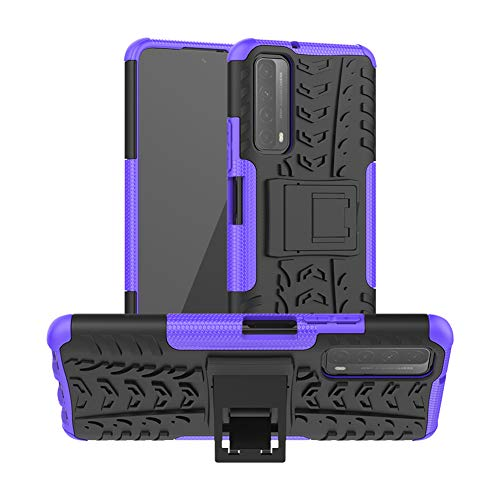 GARITANE Funda Compatible con Huawei P Smart (2021)/Y7A, Híbrida Rugged Armor Case Back Cover Choque Bumper Carcasa con Kickstand (Púrpura)