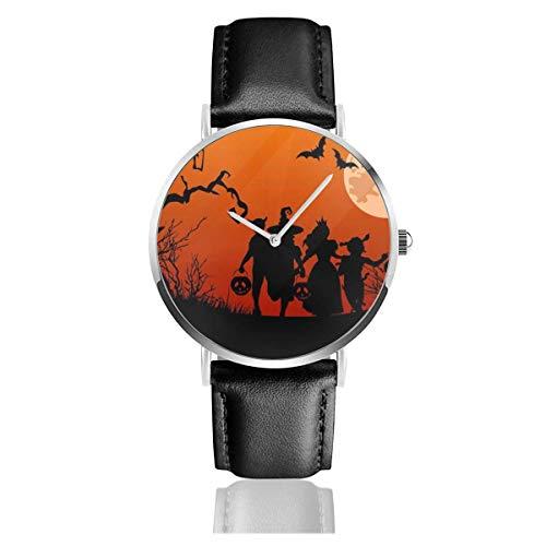 Halloween Candy Hunt Unisex Uhr Mode Sport Uhr PU Lederband Quarz Armbanduhren Slim Classic Uhr