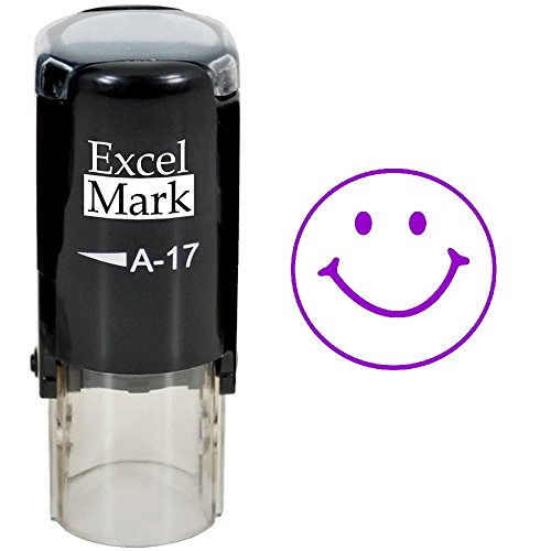 Smiley FACE  ExcelMark SelfInking Round Teacher Stamp  Purple Ink
