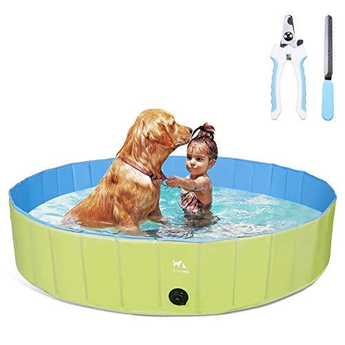 Zacro Hundepool fur Große Hunde 160cm, Tragbares Faltbares Haustier Planschbecken, PVC-rutschfest Für Kinder Hund Katze Schwimmbecken