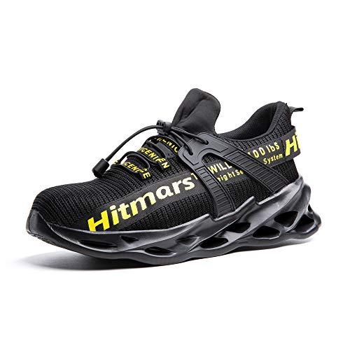 Zapatos de Seguridad para Hombre Zapatillas Deportivas de Mujer Puntera de Acero Calzado de Industrial Trabajo Construcción Botas Tácticas Trekking I Amarillo EU42