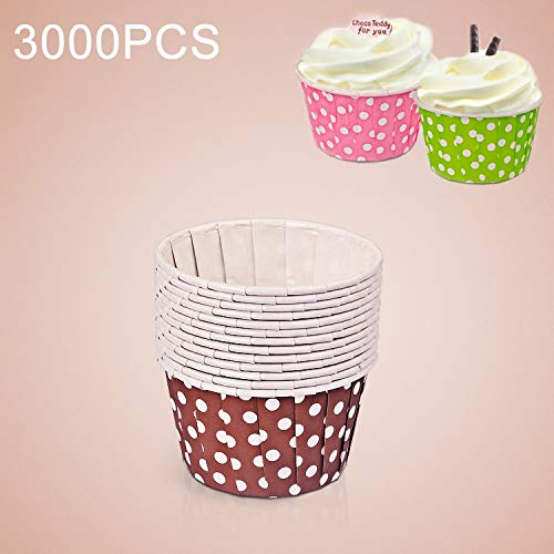 Buy Discount Kitchen appliances 3000 PCS Dot Pattern Round Lamination Cake Cup Muffin Cases Chocolat...