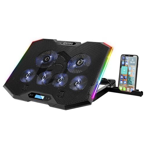 EMPIRE GAMING - Guardian S-C100 Refrigerador PC Ordenador Portátil RGB Gamer – 6 Ventiladores - Controlador LCD - 5 Alturas Regulables – Compatible de 13'' a 17'' -Soporte Smartphone Desmontab