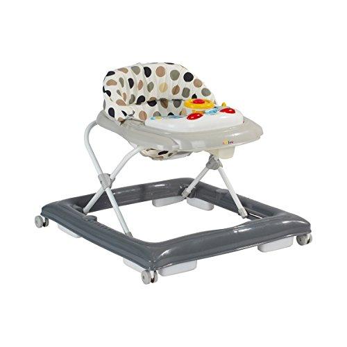 Solini Lauflernhilfe/höhenverstellbarer Lauflernwagen mit Sitzeinhang für Kinder ab 6 Monaten/grau