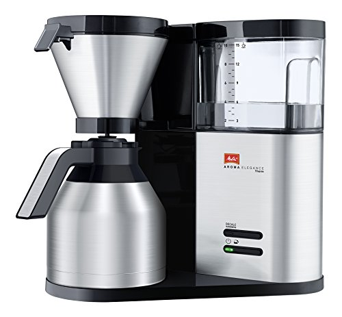 Melitta AromaElegance Therm 1012-04, Filterkaffeemaschine mit Thermkanne, Aroma Control, Schwarz Filter-Kaffeemaschine, 1.2 liters, silber, Edelstahl