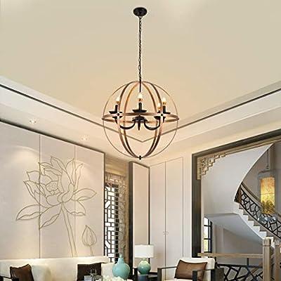 Shan-S Chandelier,Six-Light Indoor Chandelier Oil Rubbed Bronze Finish Vintage Industrial Lamp Pendant Lighting 6 Light Pendant Light Fixtures