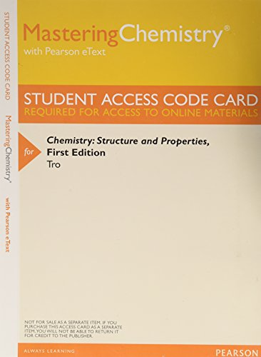 Mastering Chemistry with Pearson eText -- ValuePack Access Card -- for Chemistry: Structure and Properties