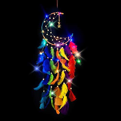 MMTX Luna Acchiappasogni con Luce LED Decorazioni Camera da Letto Ragazza Fatto a Mano Cacciatore di Sogni Piuma Arazzo Bohémien Casa Camere da Letto Parete Sospeso Nozze Decorazioni Ornamenti Craft