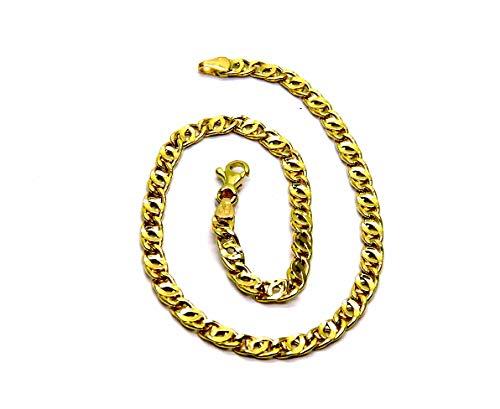 Pulsera para hombre de oro amarillo de 18 quilates (750) con eslabones de tigre de 21,5 cm