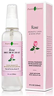 Rose Linen and Room Spray, Natural Pillow Spray Made with Pure Rose Essential Oils, Relaxing Home Fragrance or Toilet Spray, Rose Water Spray