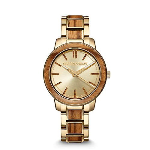 Original Grain | Zebrawood Gold Barrel 36mm Watch | Yellow Gold Stainless Steel | Handcrafted from All-Natural Zebrawood | Scratch & Water Resistant to 5ATM | Gift for Women
