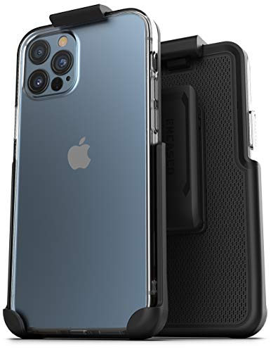 Encased Showcase Series Designed for iPhone 12 PRO MAX Belt Clip Case with Holster (Slim Fit) Transparent Back Protective Cover (2020 Release)