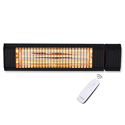 VASNER Appino 20 Infrarot Heizstrahler Terrasse schwarz, 2000 Watt, Fernbedienung + App Steuerung Bluetooth, Terrassenstrahler Außenbereich, Bad, Infrarotstrahler, elektrisch