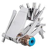 Herramientas de bicicleta herramientas de reparación de bicicletas de bicicleta Kit de llave Destornillador Cadena Abrazadera Herramienta multifuncional de acero (plata)