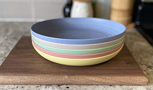 Premium Set of 5 Unbreakable Wheat Straw Plates   9 inches   Dinner Plates, Dishwasher Microwave Safe, BPA Free, Eco Friendly   Perfect for Kids
