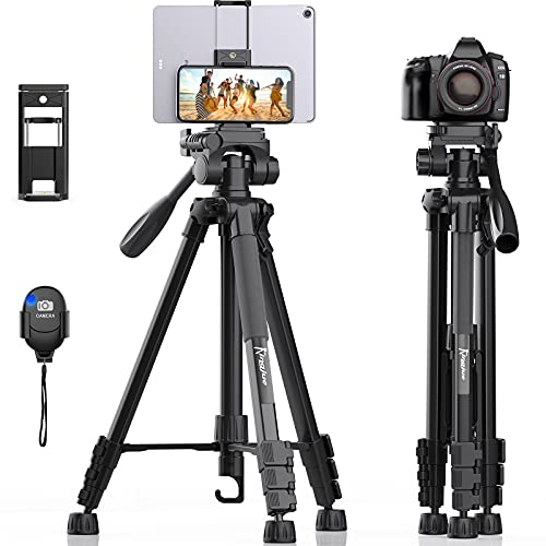 58 inch Camera Tripod for Canon Nikon Lightweight Aluminum Travel DSLR Phone Camera Tripod with 2 in 1 Phone Tablet...