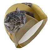 Tcerlcir Gorro Natación Lindo Gato durmiendo Gorro de Piscina para Hombre y Mujer Hecho de Silicona Ideal para Pelo Largo y Corto