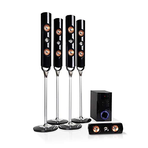 auna Areal Nobility Equipo 5.1 de Sonido Envolvente - Home Cinema, Equipo 5.1, 120 W de Potencia Media, Subwoofer de 35 W, Altavoces, Bluetooth 3.0, USB, SD, AUX, Pantalla LED, Negro