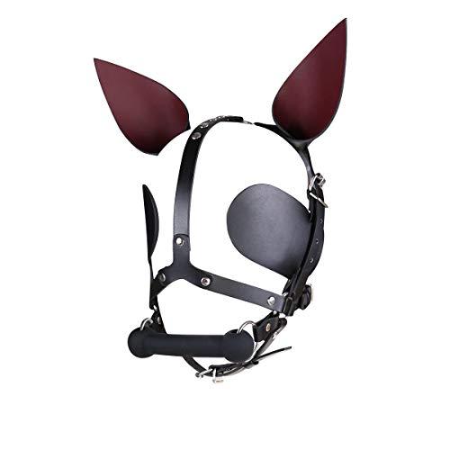 Máscara de piel unisex con orejas afiladas para la boca del hueso del perro