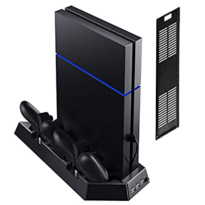 Kootek Vertical Stand with Cooling Fan for PS4 Slim / Regular PlayStation 4, Controllers Charging Station with Dual Charger Ports and USB HUB for Console Dualshock 4 Controller ( Not for PS4 Pro )