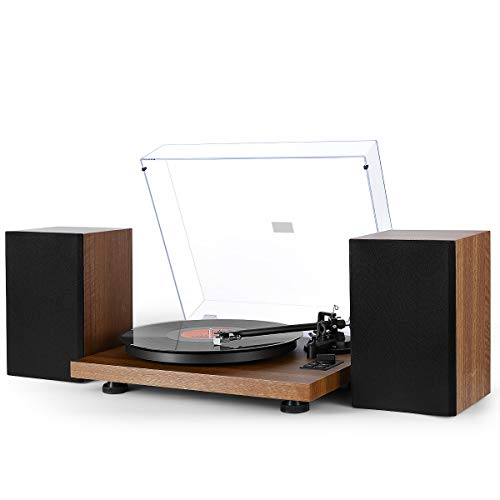 1byone Wireless Turntable HiFi System with 36 Watt Bookshelf Speakers, Vinyl Record Player with Magnetic Cartridge, Wireless Playback & Auto-Off, Patent Designed