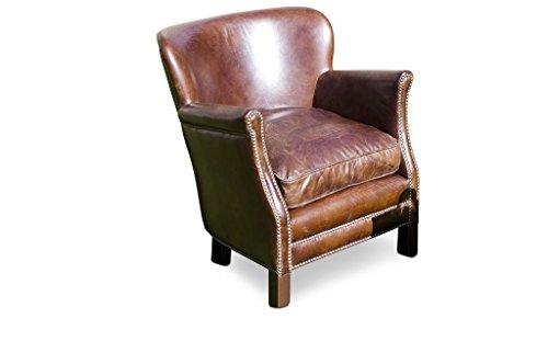 Fauteuil cuir du Professeur Turner - Bois massif, Cuir de vachette, Grand confort d'assise, Matériaux nobles | Un fauteuil club en cuir, compact et confortable - Brun chocolat (L67 x H74 x P72 cm)