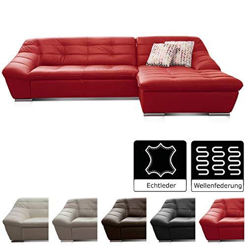 Cavadore Leder-Sofa Lucas / Eck-Couch in Echtleder mit Steppung / Longchair rechts / Größe: 287 x 81 x 165 (BxHxT) / Leder rot