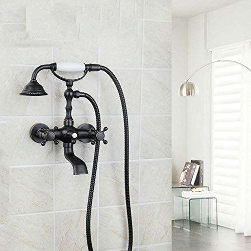 Bad Duscharmaturen Badewanne Mischbatterie Doppelgriff Wandhalterung Öl Eingerieben Bronze Duschset Duschkopf Und Handbrause