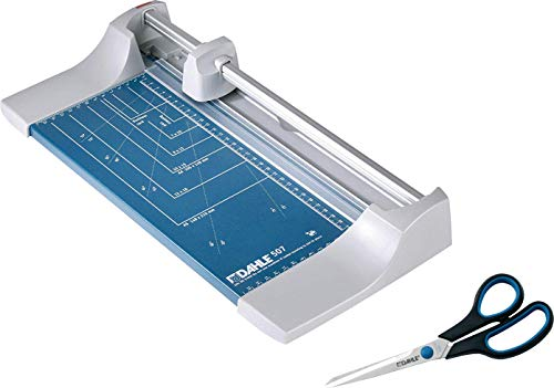 Dahle 507 Roll- und Schnitt-Schneidemaschine (Papierschneidemaschine mit einer Schnittlänge von 320 mm, bis zu DIN A4), blau (Blau | Promo Pack)