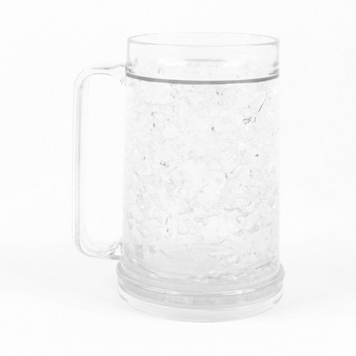 Freezer Mug for Ice-Free Cold Drinks, Double Walled, 16-oz. Capacity Cold Beer Mug, Clear
