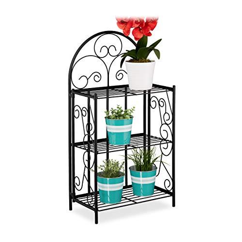 Relaxdays Blumenregal, klappbar, 3 Ebenen, Balkon, Garten & Indoor, Metall, Pflanzenregal HBT 83 x 44,5 x 25 cm, schwarz