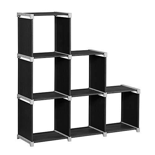 SONGMICS Bibliothèque à 6 Compartiments, Étagère escalier, Meuble de Rangement, Séparateur, pour Salon, Chambre, Salle de Bain,...