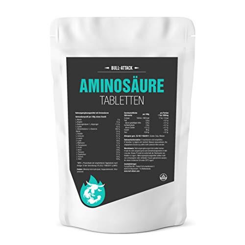 Aminosäure Tabletten von Bull Attack - 500 vegane Aminosäuren-Tabletten - Komplex aller 18 Aminosäuren inkl. aller EAA zum Muskelaufbau und in der Diät