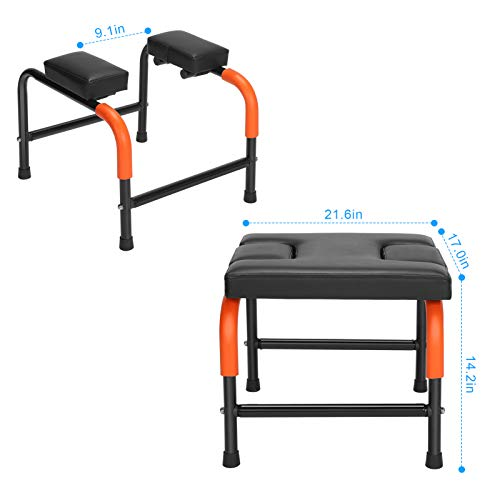Yoga Headstand Bench, Yoga Chair Stool Inversion Bench Chair Metal Frame Thick Cushion for Family Gym Balance Training Core Strength Workout Fitness, 21.716.916.9in